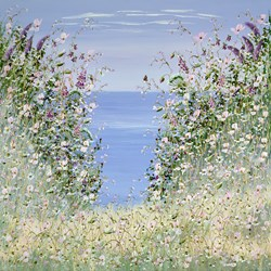 Butterfly by the Sea I by Mary Shaw - Original Painting on Board sized 40x40 inches. Available from Whitewall Galleries